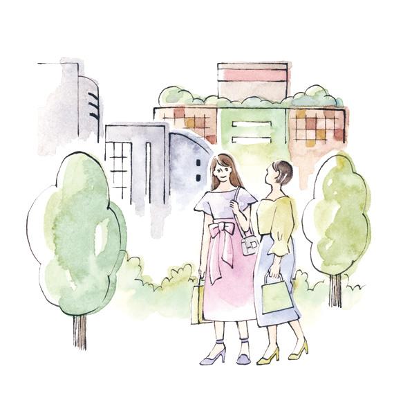 二子玉川駅周辺 カットイラスト