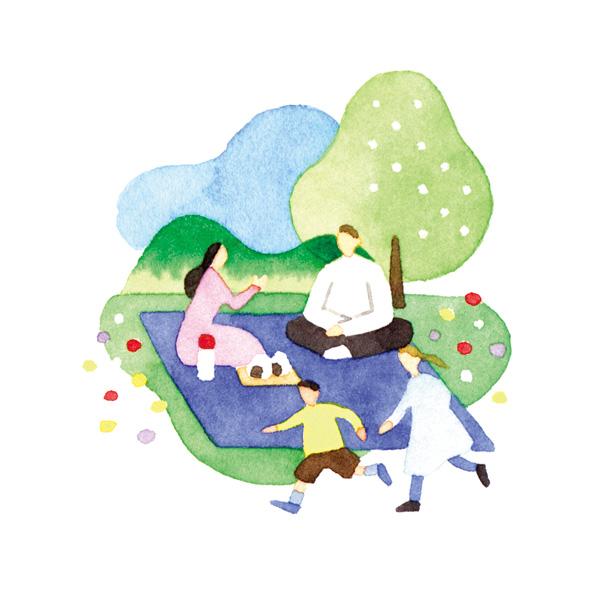 水彩 イラスト ピクニック